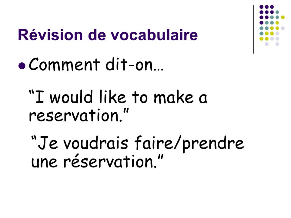 Révision de vocabulaire Comment dit-on… I would like to make a reservation. Je voudrais faire/prendre une réservation.