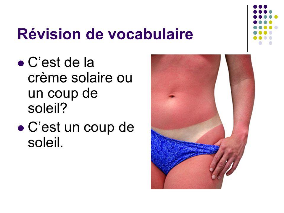 Révision de vocabulaire C'est de la crème solaire ou un coup de soleil? C'est un coup de soleil.