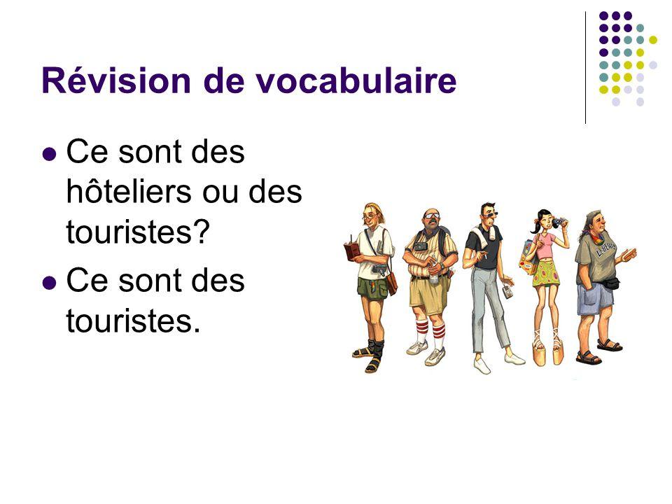 Révision de vocabulaire Ce sont des hôteliers ou des touristes? Ce sont des touristes.