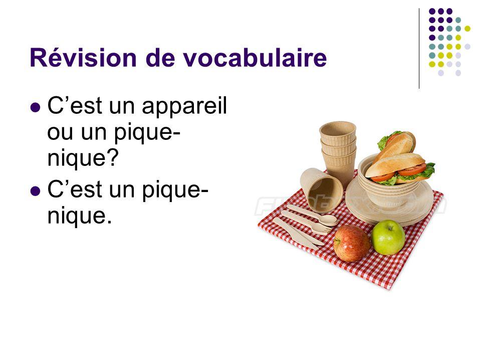 Révision de vocabulaire C'est un appareil ou un pique- nique? C'est un pique- nique.