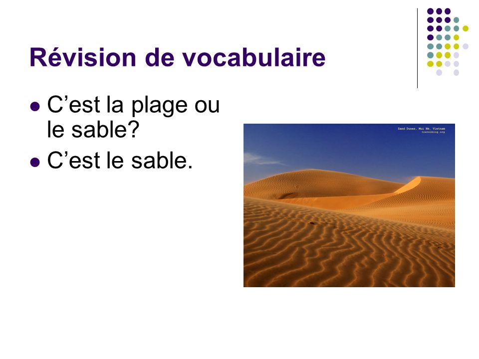 Révision de vocabulaire C'est la plage ou le sable? C'est le sable.
