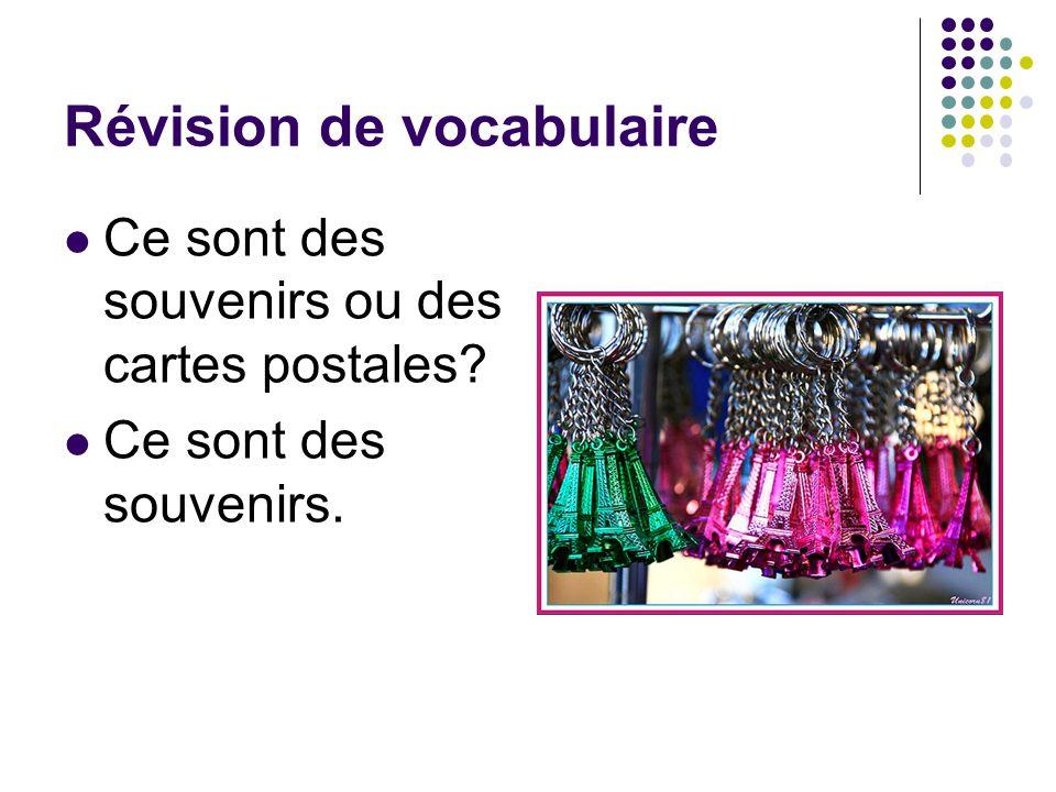 Révision de vocabulaire Ce sont des souvenirs ou des cartes postales? Ce sont des souvenirs.
