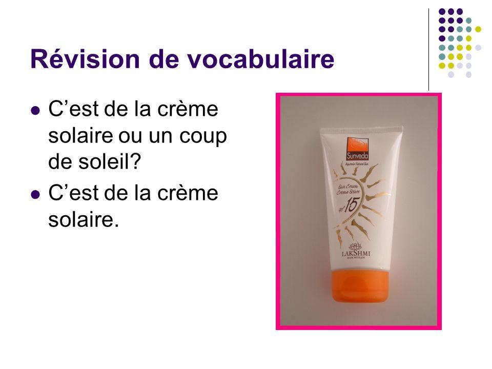 Révision de vocabulaire C'est de la crème solaire ou un coup de soleil? C'est de la crème solaire.