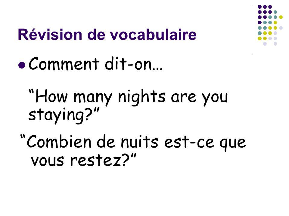Révision de vocabulaire Comment dit-on… Darnit! I lost my key(card)! Zut! J'ai perdu ma clé!