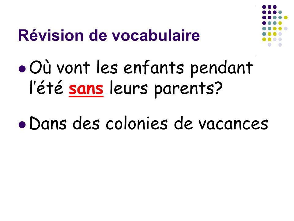 Révision de vocabulaire Où vont les enfants pendant l'été sans leurs parents? Dans des colonies de vacances