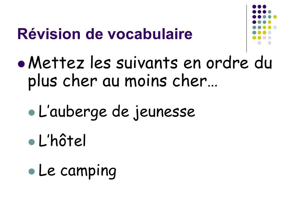 Révision de vocabulaire Mettez les suivants en ordre du plus cher au moins cher… L'auberge de jeunesse L'hôtel Le camping