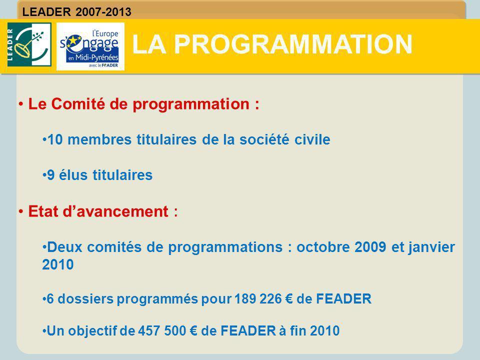 Le Comité de programmation : 10 membres titulaires de la société civile 9 élus titulaires Etat d'avancement : Deux comités de programmations : octobre