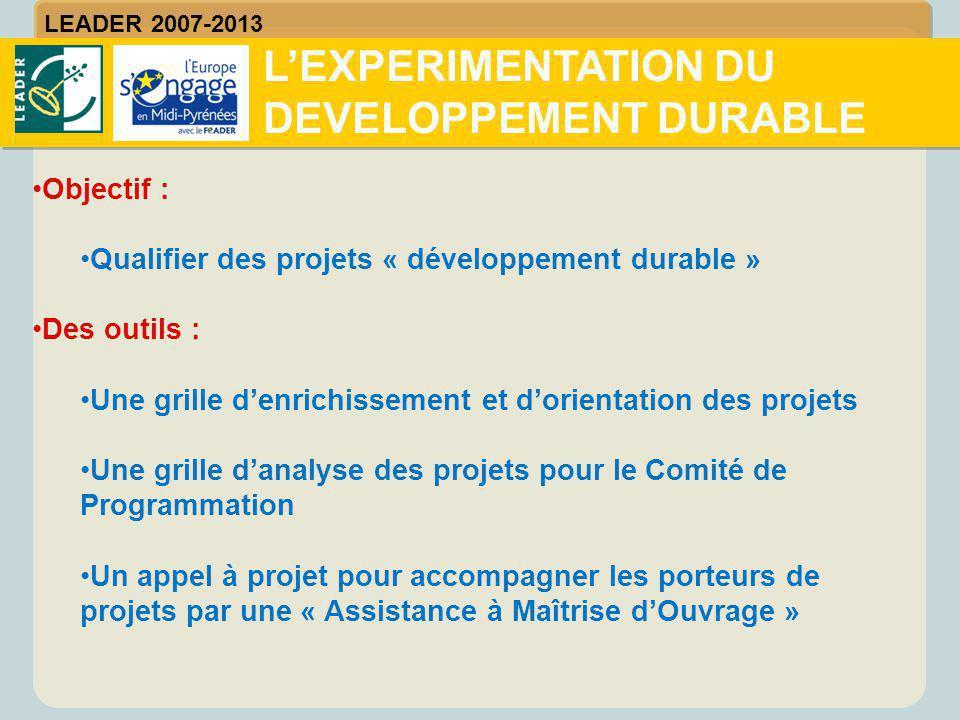 Objectif : Qualifier des projets « développement durable » Des outils : Une grille d'enrichissement et d'orientation des projets Une grille d'analyse
