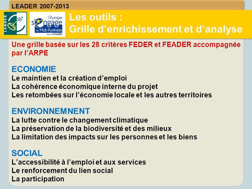 Une grille basée sur les 28 critères FEDER et FEADER accompagnée par l'ARPE ECONOMIE Le maintien et la création d'emploi La cohérence économique inter