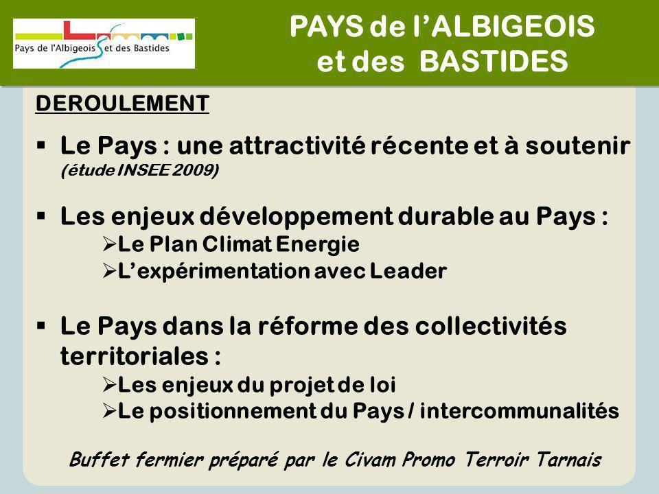 PAYS de l'ALBIGEOIS et des BASTIDES PAYS de l'ALBIGEOIS et des BASTIDES DEROULEMENT  Le Pays : une attractivité récente et à soutenir (étude INSEE 20
