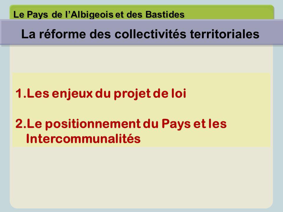 Le Pays de l'Albigeois et des Bastides 1.Les enjeux du projet de loi 2.Le positionnement du Pays et les Intercommunalités La réforme des collectivités