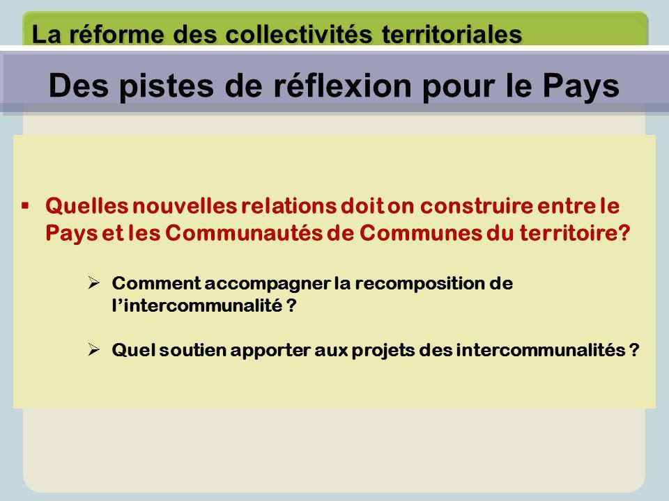 La réforme des collectivités territoriales  Quelles nouvelles relations doit on construire entre le Pays et les Communautés de Communes du territoire.