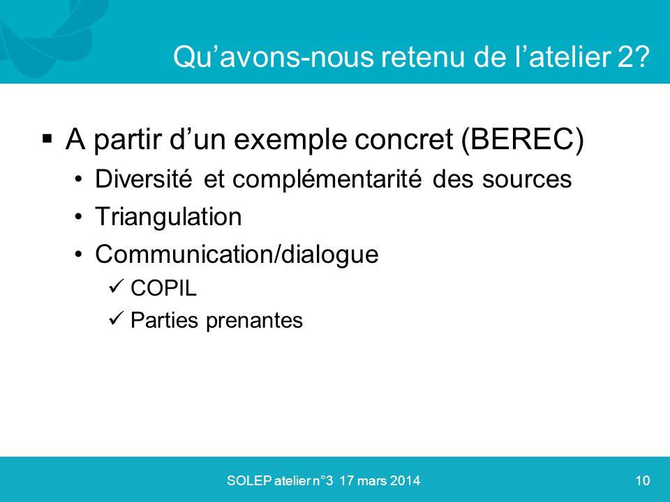  A partir d'un exemple concret (BEREC) Diversité et complémentarité des sources Triangulation Communication/dialogue COPIL Parties prenantes Qu'avons-nous retenu de l'atelier 2.