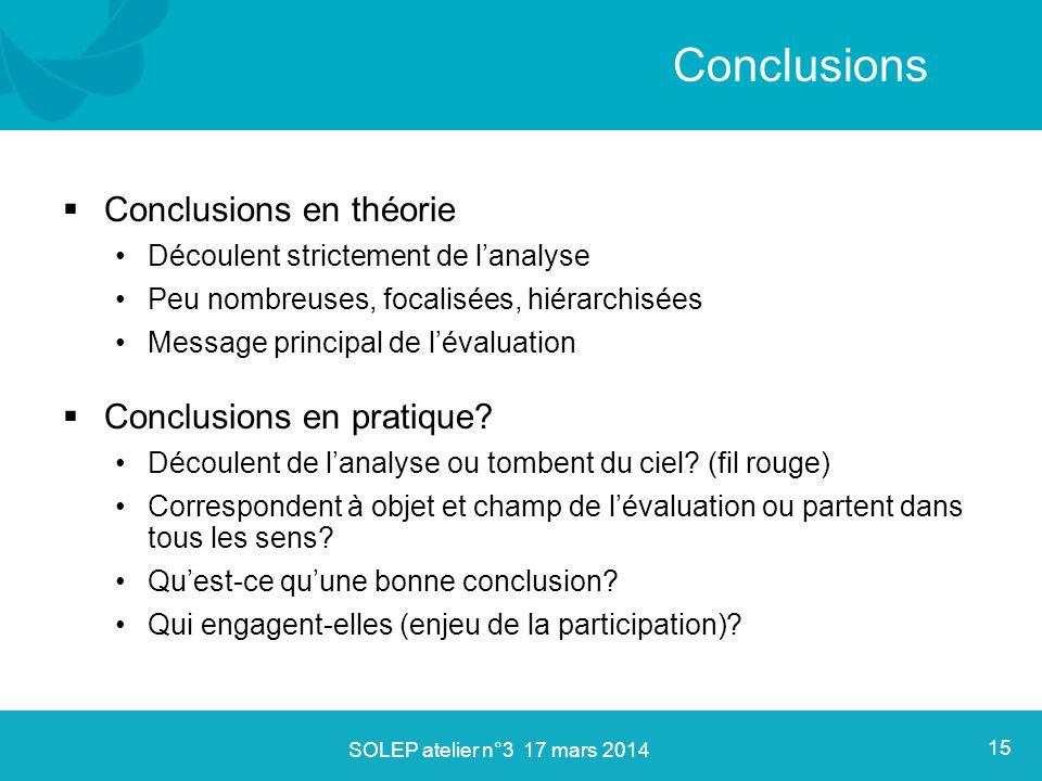  Conclusions en théorie Découlent strictement de l'analyse Peu nombreuses, focalisées, hiérarchisées Message principal de l'évaluation  Conclusions