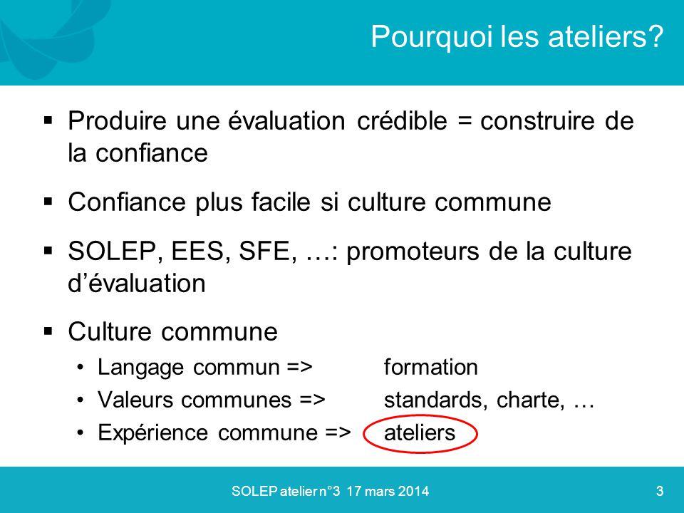  Produire une évaluation crédible = construire de la confiance  Confiance plus facile si culture commune  SOLEP, EES, SFE, …: promoteurs de la cult