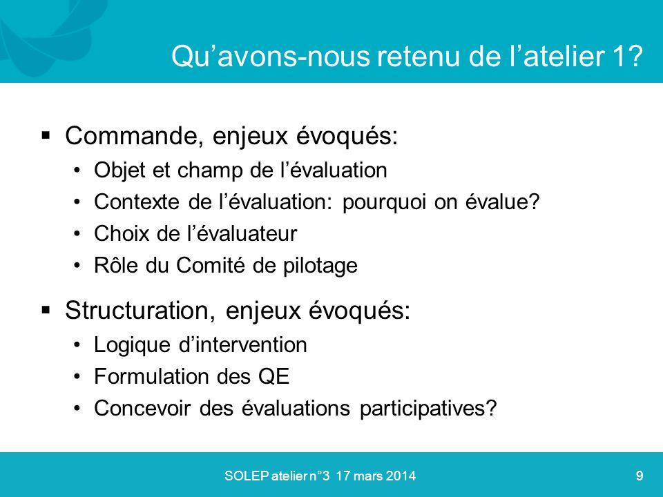  Commande, enjeux évoqués: Objet et champ de l'évaluation Contexte de l'évaluation: pourquoi on évalue? Choix de l'évaluateur Rôle du Comité de pilot