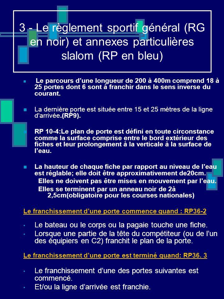 3 - Le règlement sportif général (RG en noir) et annexes particulières slalom (RP en bleu) Le parcours d'une longueur de 200 à 400m comprend 18 à 25 p