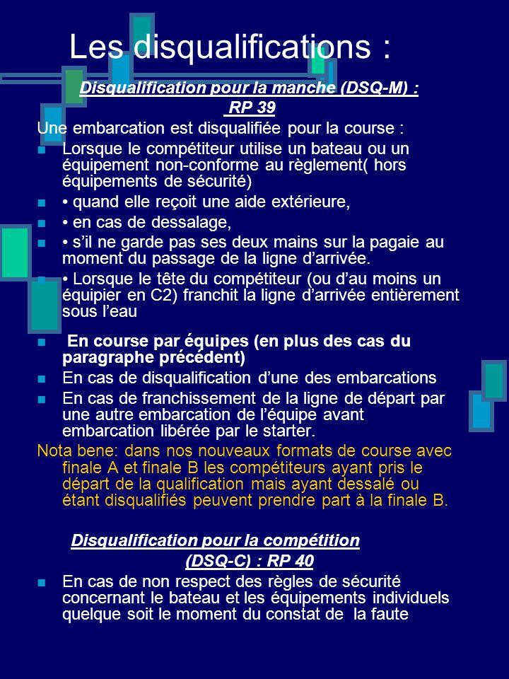 Les disqualifications : Disqualification pour la manche (DSQ-M) : RP 39 Une embarcation est disqualifiée pour la course : Lorsque le compétiteur utili