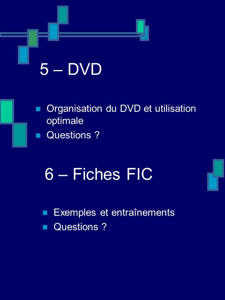 5 – DVD Organisation du DVD et utilisation optimale Questions ? 6 – Fiches FIC Exemples et entraînements Questions ?