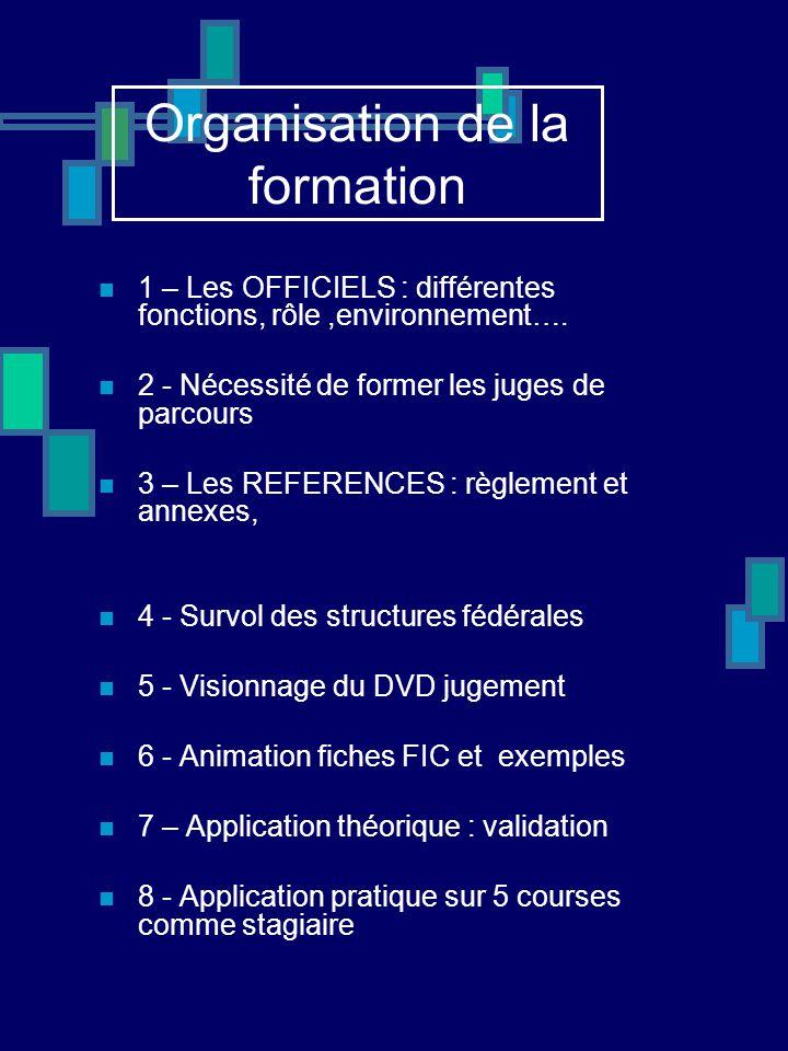 Organisation de la formation 1 – Les OFFICIELS : différentes fonctions, rôle,environnement…. 2 - Nécessité de former les juges de parcours 3 – Les REF
