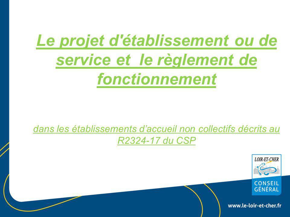 Le projet d établissement ou de service et le règlement de fonctionnement dans les établissements d'accueil non collectifs décrits au R2324-17 du CSP