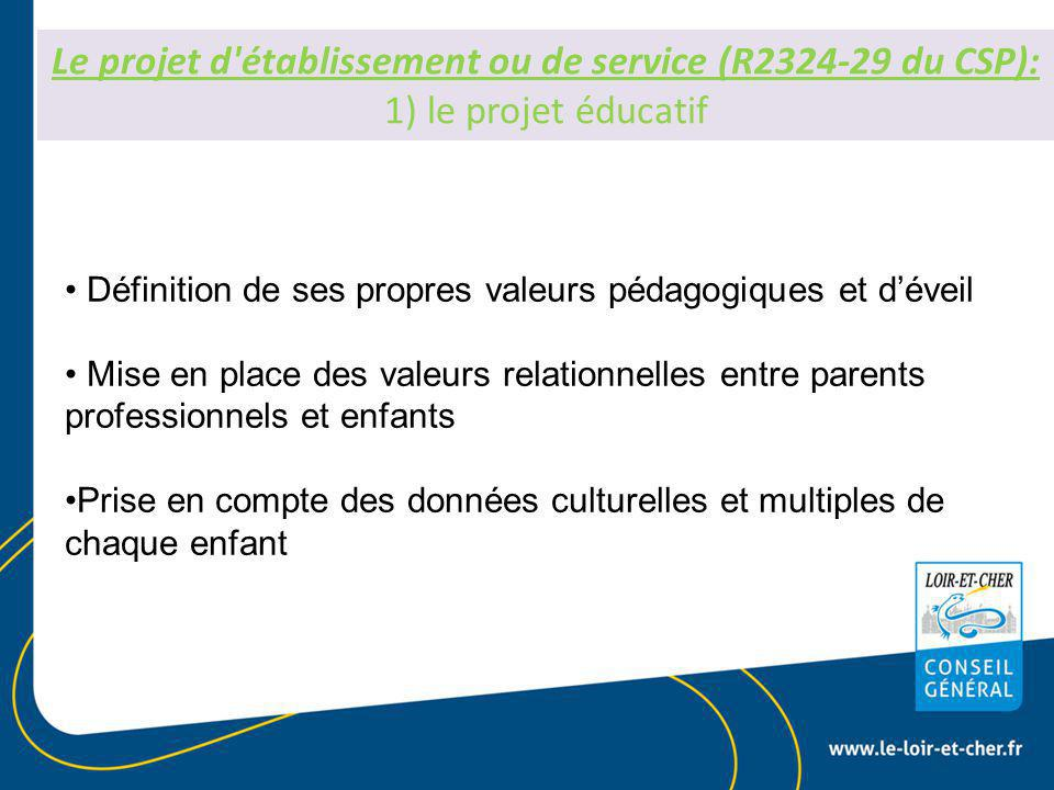 Le projet d établissement ou de service (R2324-29 du CSP): 1) le projet éducatif Définition de ses propres valeurs pédagogiques et d'éveil Mise en place des valeurs relationnelles entre parents professionnels et enfants Prise en compte des données culturelles et multiples de chaque enfant