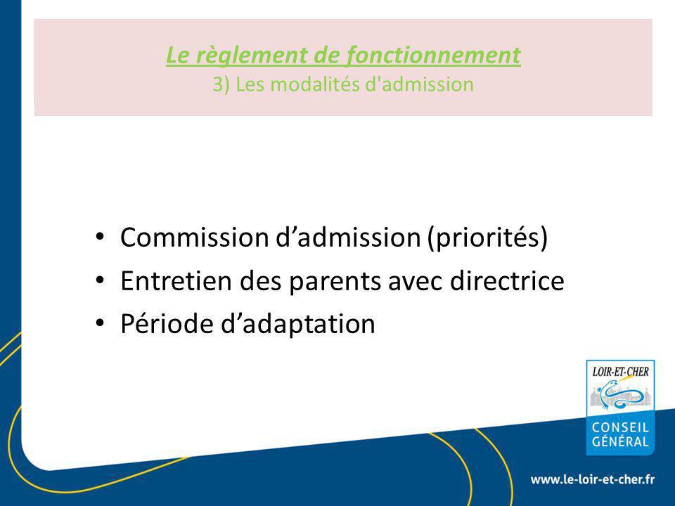 Le règlement de fonctionnement Art R 2324-30 du CSP Le règlement de fonctionnement 3) Les modalités d admission Commission d'admission (priorités) Entretien des parents avec directrice Période d'adaptation