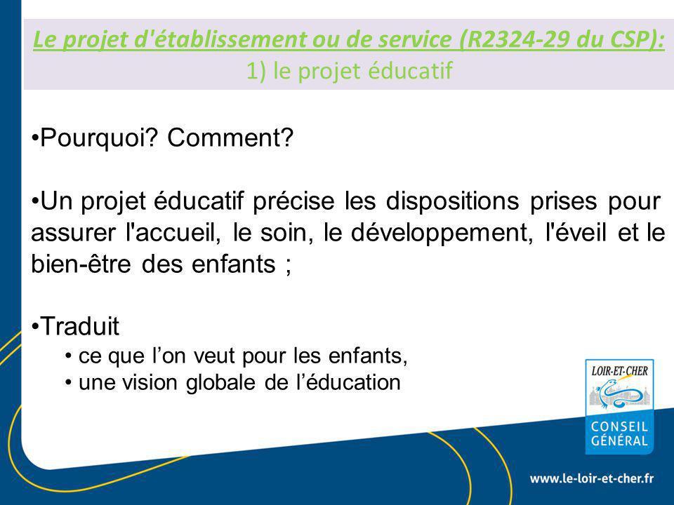 Le projet d établissement ou de service (R2324-29 du CSP): 1) le projet éducatif Pourquoi.
