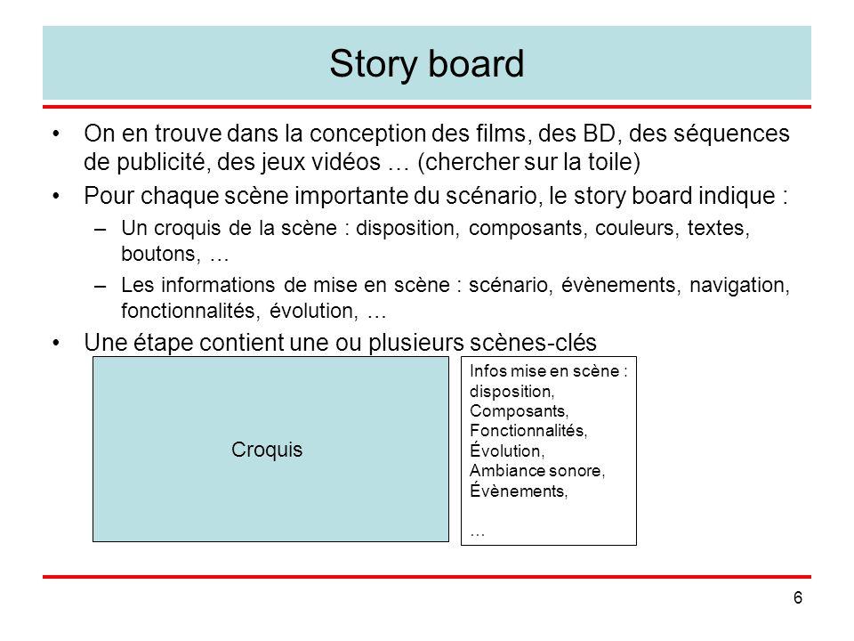6 Story board On en trouve dans la conception des films, des BD, des séquences de publicité, des jeux vidéos … (chercher sur la toile) Pour chaque scène importante du scénario, le story board indique : –Un croquis de la scène : disposition, composants, couleurs, textes, boutons, … –Les informations de mise en scène : scénario, évènements, navigation, fonctionnalités, évolution, … Une étape contient une ou plusieurs scènes-clés Croquis Infos mise en scène : disposition, Composants, Fonctionnalités, Évolution, Ambiance sonore, Évènements, …