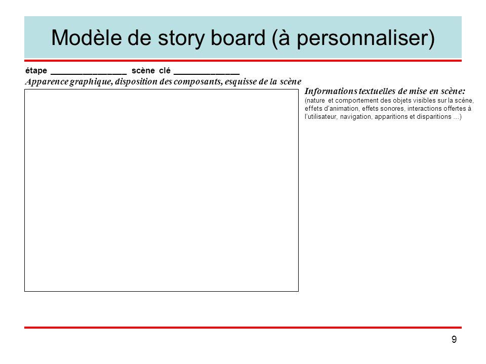 9 Modèle de story board (à personnaliser) étape ________________ scène clé ______________ Apparence graphique, disposition des composants, esquisse de la scène Informations textuelles de mise en scène: (nature et comportement des objets visibles sur la scène, effets d animation, effets sonores, interactions offertes à l'utilisateur, navigation, apparitions et disparitions …)