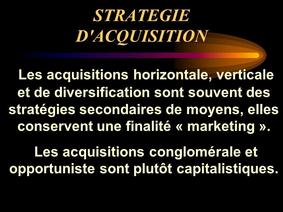 STRATEGIE D'ACQUISITION Les acquisitions horizontale, verticale et de diversification sont souvent des stratégies secondaires de moyens, elles conserv