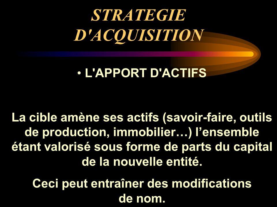 STRATEGIE D'ACQUISITION L'APPORT D'ACTIFS La cible amène ses actifs (savoir-faire, outils de production, immobilier…) l'ensemble étant valorisé sous f