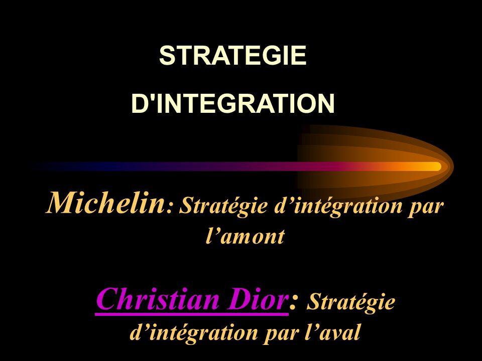 Michelin : Stratégie d'intégration par l'amont Christian Dior: Stratégie d'intégration par l'aval Christian Dior STRATEGIE D'INTEGRATION
