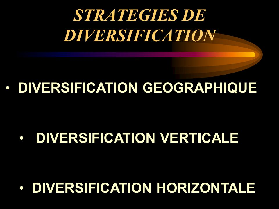 STRATEGIES DE DIVERSIFICATION DIVERSIFICATION GEOGRAPHIQUE DIVERSIFICATION VERTICALE DIVERSIFICATION HORIZONTALE