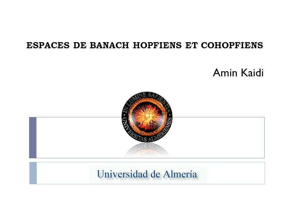 ESPACES DE BANACH HOPFIENS ET COHOPFIENS Amin Kaidi