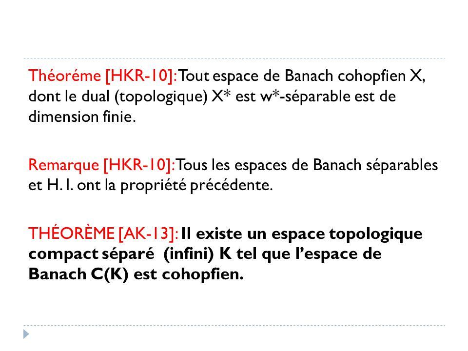 Théoréme [HKR-10]: Tout espace de Banach cohopfien X, dont le dual (topologique) X* est w*-séparable est de dimension finie. Remarque [HKR-10]: Tous l