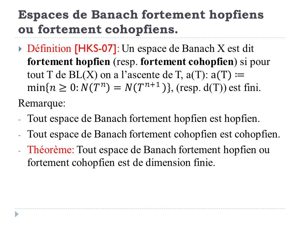 Espaces de Banach fortement hopfiens ou fortement cohopfiens.