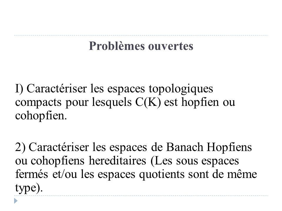 Problèmes ouvertes I) Caractériser les espaces topologiques compacts pour lesquels C(K) est hopfien ou cohopfien. 2) Caractériser les espaces de Banac