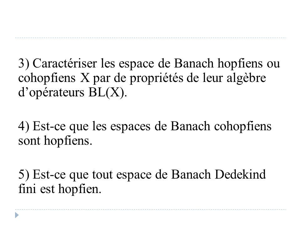 3) Caractériser les espace de Banach hopfiens ou cohopfiens X par de propriétés de leur algèbre d'opérateurs BL(X). 4) Est-ce que les espaces de Banac