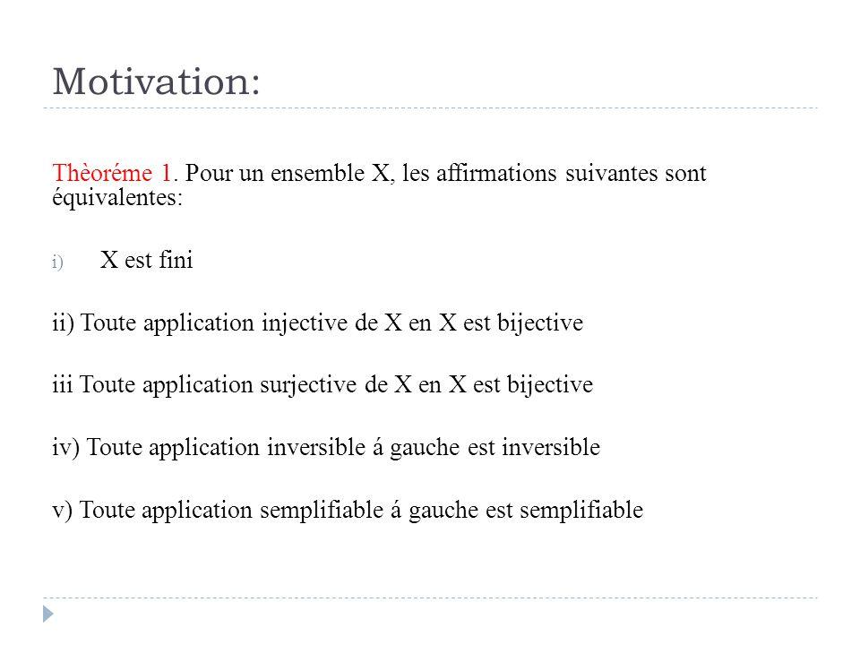 Motivation: Thèoréme 1. Pour un ensemble X, les affirmations suivantes sont équivalentes: i) X est fini ii) Toute application injective de X en X est