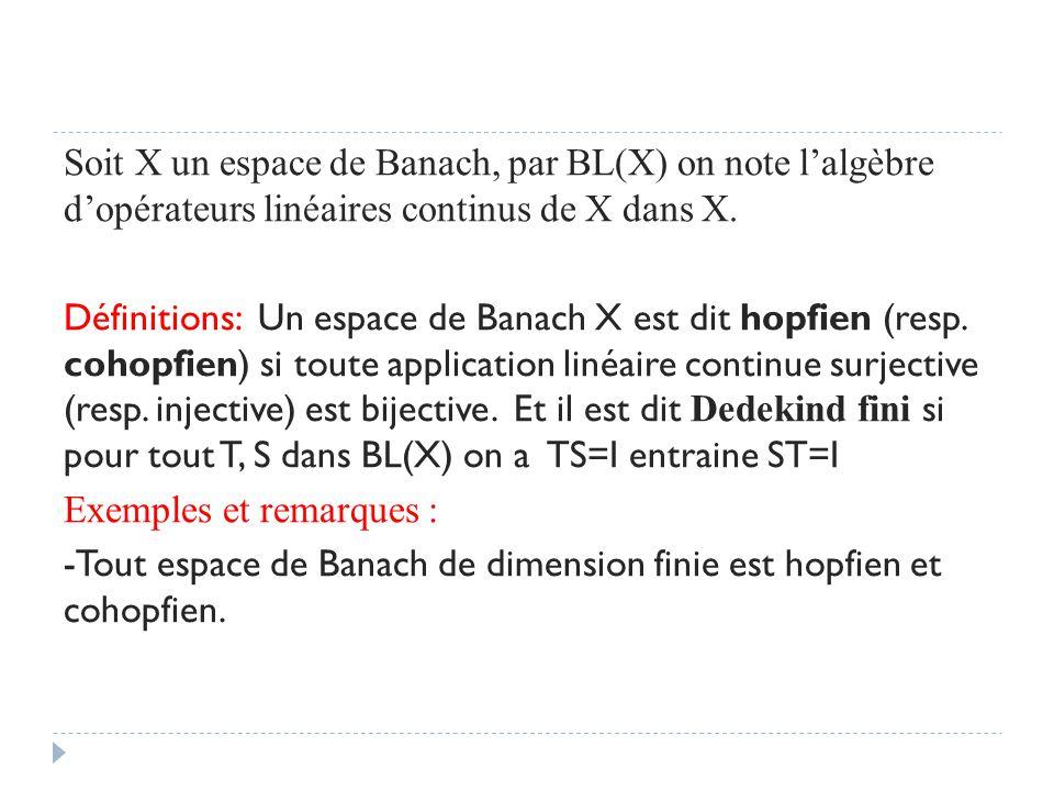 Soit X un espace de Banach, par BL(X) on note l'algèbre d'opérateurs linéaires continus de X dans X. Définitions: Un espace de Banach X est dit hopfie