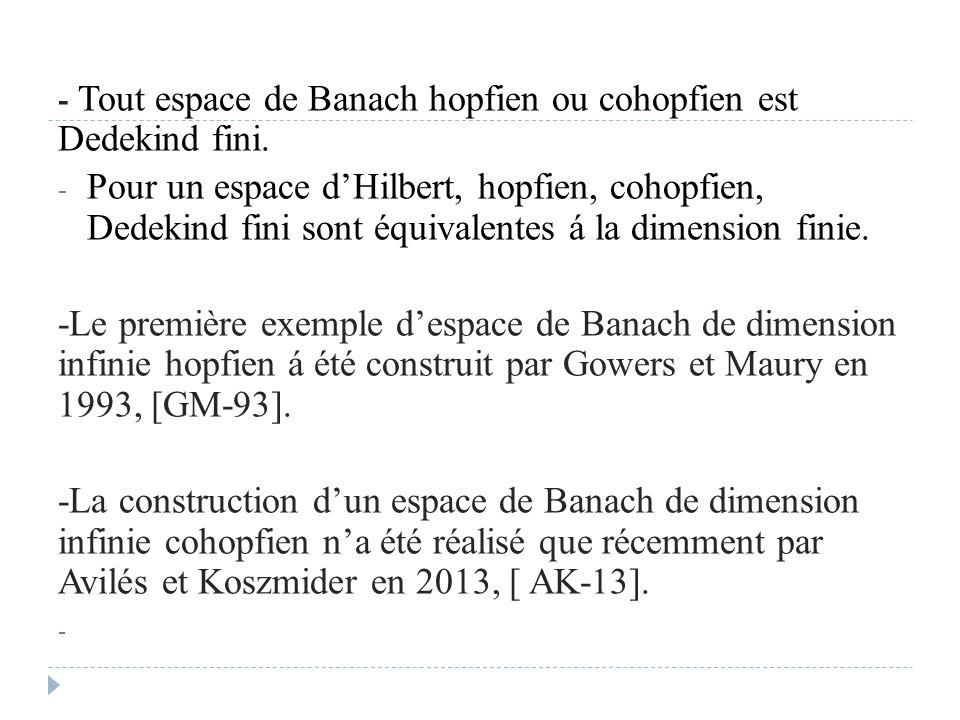 - Tout espace de Banach hopfien ou cohopfien est Dedekind fini. - Pour un espace d'Hilbert, hopfien, cohopfien, Dedekind fini sont équivalentes á la d