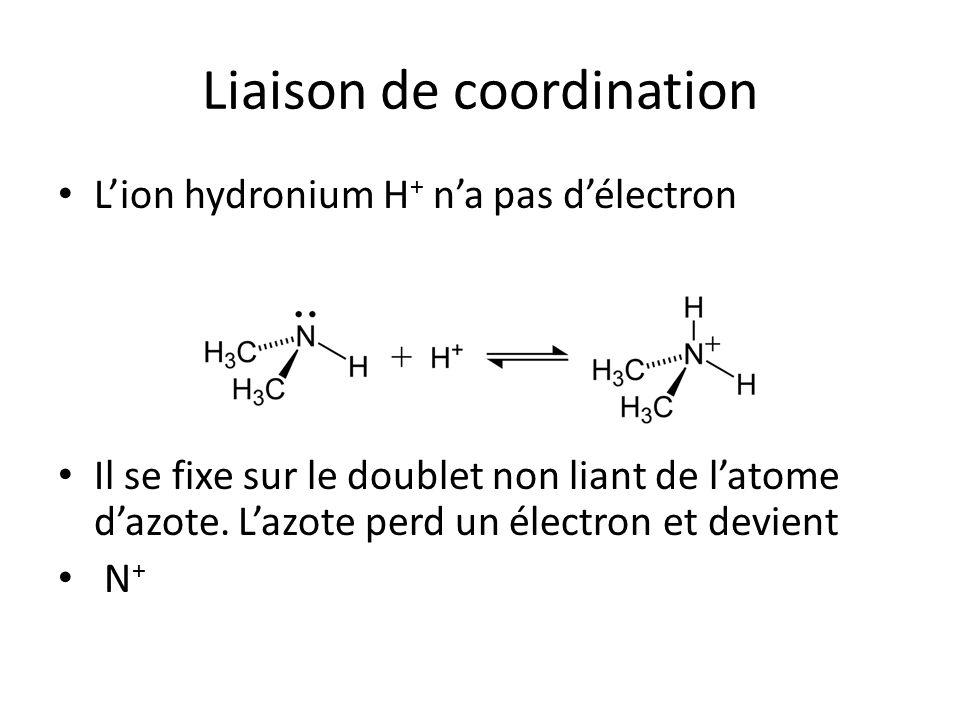 Liaison de coordination L'ion hydronium H + n'a pas d'électron Il se fixe sur le doublet non liant de l'atome d'azote. L'azote perd un électron et dev