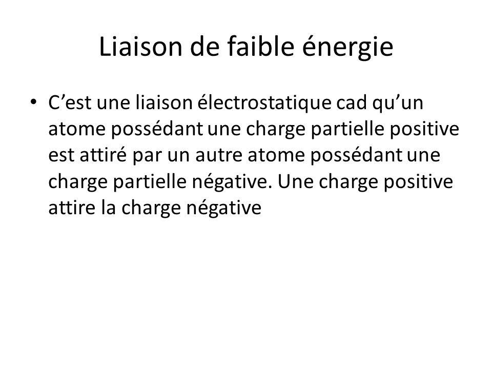 Liaison de faible énergie C'est une liaison électrostatique cad qu'un atome possédant une charge partielle positive est attiré par un autre atome poss