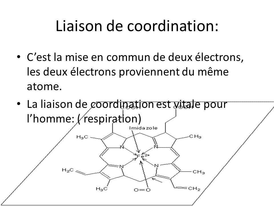 Liaison de coordination: C'est la mise en commun de deux électrons, les deux électrons proviennent du même atome. La liaison de coordination est vital