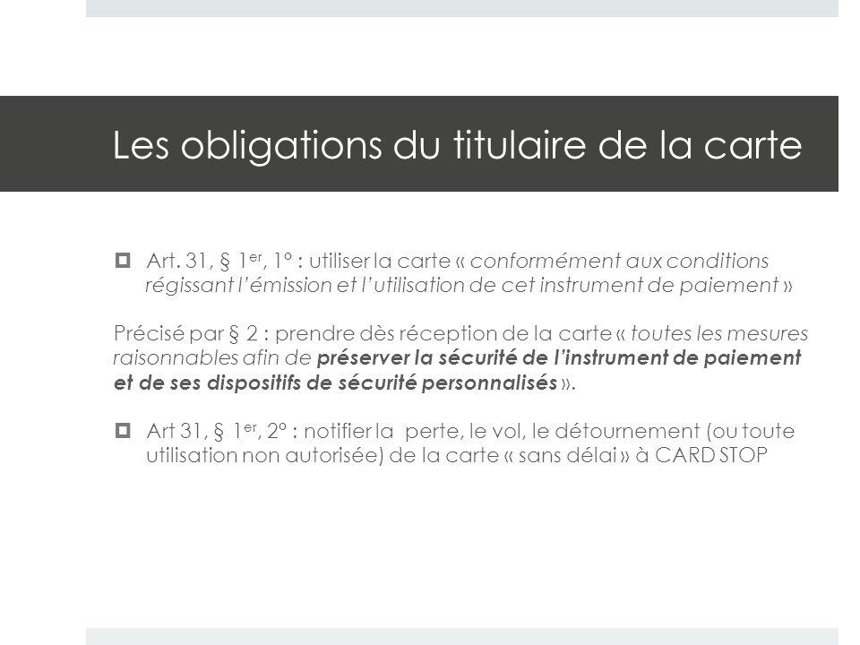 Les obligations du titulaire de la carte  Art. 31, § 1 er, 1° : utiliser la carte « conformément aux conditions régissant l'émission et l'utilisation