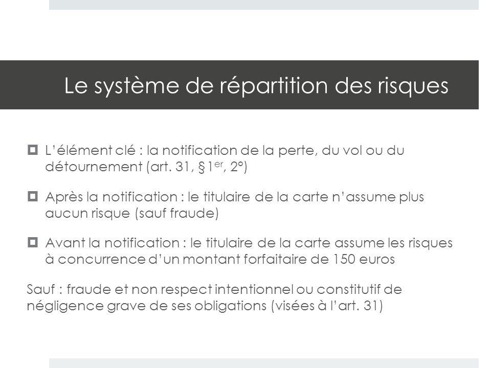 Le système de répartition des risques  L'élément clé : la notification de la perte, du vol ou du détournement (art. 31, §1 er, 2°)  Après la notific
