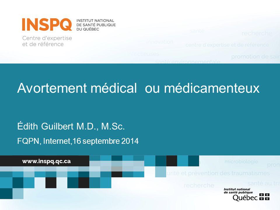 IVG médicale au Canada LieuIVG médicaleIVG chirurgicale IVG mixte Canada ICIS 20113,7%93,8%2,3% Canada Enquête 2013 4% (1%)96% (99%)- 59,3% faits par des médecins généralistes 79,7% sont des femmes 63,3% vont jusqu'à 49 jours de gestation US CDC 201017,8%80,5%1,9% US Enquête 201335,6%64,4% 56% faits par des médecins (3/4 sont des spécialistes), 26% par des nurses practitioners, 6% par des infirmières 78,7% sont des femmes 79,1% vont jusqu'à 63 jours de gestation