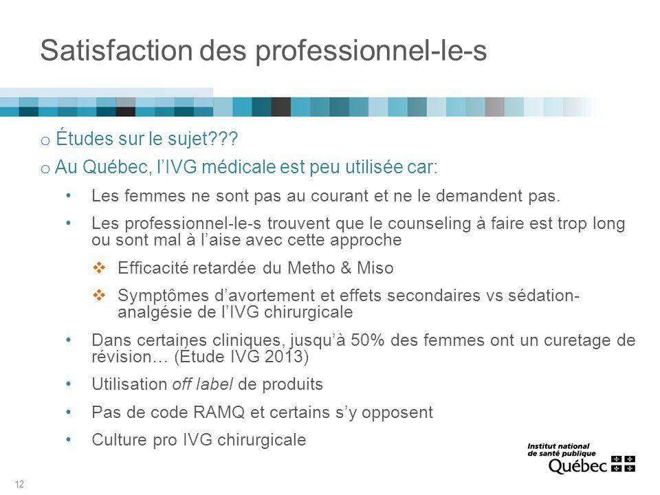 Satisfaction des professionnel-le-s o Études sur le sujet??? o Au Québec, l'IVG médicale est peu utilisée car: Les femmes ne sont pas au courant et ne