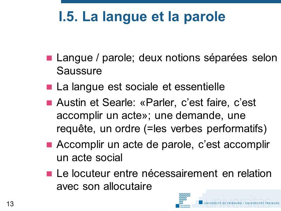 I.5. La langue et la parole Langue / parole; deux notions séparées selon Saussure La langue est sociale et essentielle Austin et Searle: «Parler, c'es